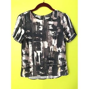 H&M Satiny Black White Abstract Print Top Sz 4